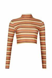 Womens Rib Stripe roll/polo neck Crop Top - brown - 14, Brown