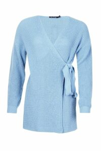Womens Knitted Side Tie Cardigan - dusty blue - 14, Dusty Blue