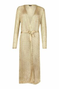 Womens Metallic Knit Long Line Cardigan - metallics - L, Metallics