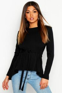 Womens Jumbo Rib Hem Peplum Long Sleeve Top - black - 14, Black