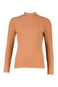 Womens Rib Knit Roll/Polo Neck Jumper - Beige - 8, Beige