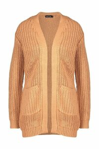 Womens Oversized Pocket Detail Cardigan - beige - XS, Beige