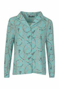 Womens Chain Print Satin Shirt - blue - 6, Blue