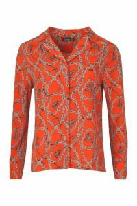 Womens Chain Print Satin Shirt - orange - 8, Orange