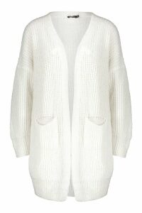 Womens Oversized Boyfriend Cardigan - white - M/L, White