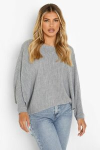 Womens Oversized Rib Knit Batwing Jumper - grey - M/L, Grey