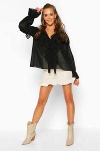 Womens Woven Ruffle Detail Blouse - black - 10, Black