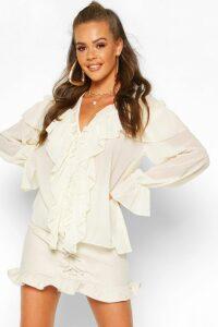Womens Woven Ruffle Detail Blouse - white - 10, White
