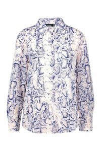 Womens Snake Print Shirt - grey - 8, Grey