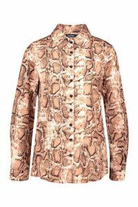 Womens Snake Print Shirt - beige - 14, Beige