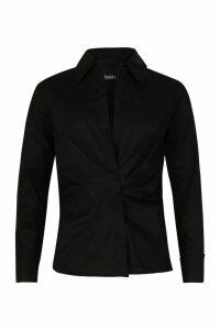 Womens Ruched Front Detail Shirt - black - M, Black