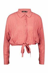 Womens Woven Textured Tie Front Shirt - orange - 14, Orange