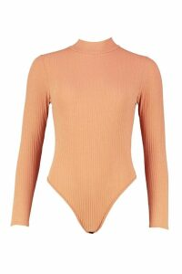 Womens roll/polo neck Long Sleeve Knitted Rib Bodysuit - beige - 12, Beige