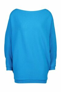 Womens Oversized Rib Knit Batwing Jumper - blue - S/M, Blue