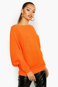 Womens Oversized Rib Knit Batwing Jumper - Orange - S/M, Orange