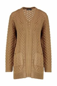Womens Cable Cardigan With Pockets - beige - M/L, Beige