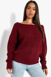 Womens Crop Slash Neck Fisherman Jumper - red - S/M, Red