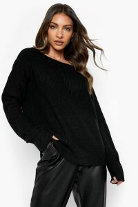 Womens Crop Slash Neck Fisherman Jumper - black - M/L, Black