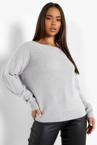 Womens Crop Slash Neck Fisherman Jumper - grey - S/M, Grey