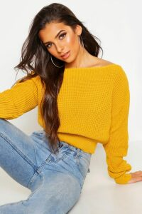 Womens Crop Slash Neck Fisherman Jumper - yellow - S/M, Yellow