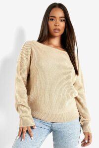 Womens Crop Slash Neck Fisherman Jumper - beige - S/M, Beige