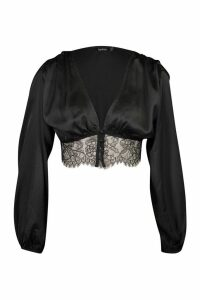 Womens Satin Button Through Blouse With Lace Hem - black - 10, Black