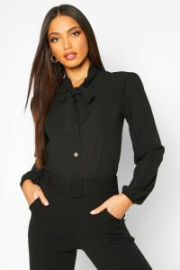 Womens Pussybow Button Through Volume Sleeve Blouse - black - 10, Black