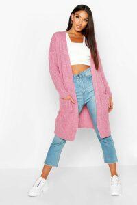 Womens Oversized Boyfriend Cardigan - pink - S/M, Pink
