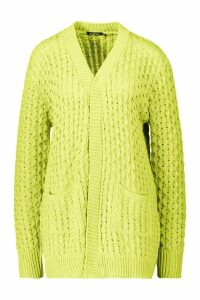 Womens Cable Cardigan With Pockets - acid lime - M/L, Acid Lime