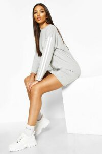 Womens Long Sleeve contrast Stripe T-Shirt Dress - grey - 16, Grey