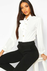 Womens Pussybow Button Through Volume Sleeve Blouse - white - 14, White