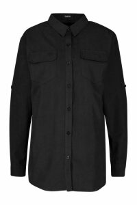 Womens Suedette Pocket Detail Oversized Shirt - black - 8, Black