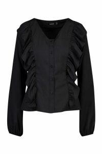 Womens Woven Ruffle Detail Blouse - black - 6, Black