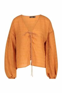 Womens Woven Tonal Lace Up Balloon Sleeve Blouse - orange - 6, Orange