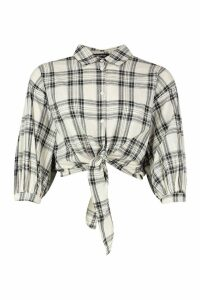 Womens Woven Check Tie Front Shirt - beige - 6, Beige