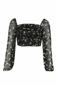 Womens Woven Floral Crop Top Blouse - black - 12, Black