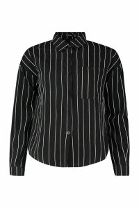 Womens Woven Striped Shirt - black - 6, Black
