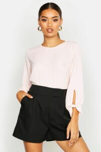 Womens Bow Sleeve Woven Blouse - pink - 12, Pink