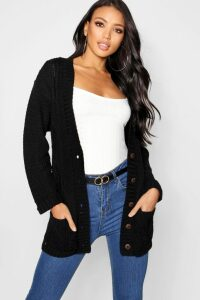 Womens Cable Boyfriend Button Up Cardigan - black - M/L, Black