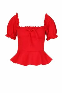 Womens Ruffle Detail Square Neck Peplum Top - red - 12, Red