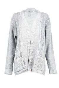 Womens Boyfriend Cardigan - grey - S/M, Grey