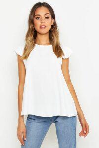 Womens Woven Ruffle Shell Top - White - 16, White