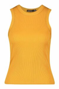 Womens Ribbed Racer Vest - yellow - 16, Yellow
