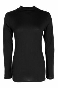 Womens Roll/Polo Neck Rib Knit Jumper - Black - 12, Black