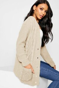 Womens Cable Boyfriend Button Up Cardigan - beige - M/L, Beige