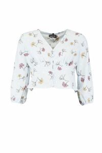 Womens Woven Mixed Floral Spot Blouse - blue - 12, Blue