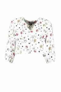 Womens Woven Mixed Floral Spot Blouse - white - 10, White