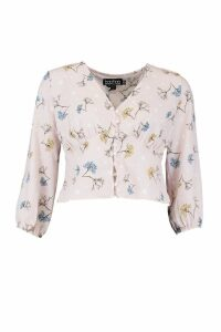 Womens Woven Mixed Floral Spot Blouse - Pink - 14, Pink