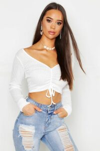 Womens Ribbed Ruched Crop Top - white - 6, White