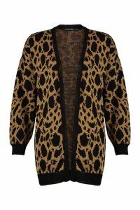 Womens Leopard Print Midi Cardigan - beige - S, Beige